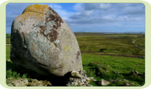 White Hag Thunder Stone is a glacial eratic boulder about 30 yds south of the Cairn circle